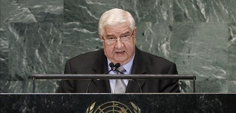 Moallem se dirige a los asistentes en la Asamblea General de la ONU, este lunes.