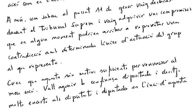 Esta es la carta manuscrita de renuncia del exconseller Joaquim Forn (ES)