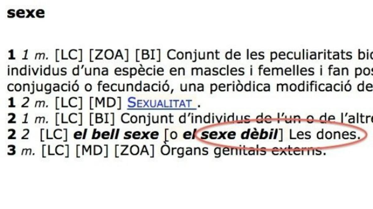 """El diccionario del Institut d'Estudis Catalans también considera """"sexo débil"""" a la mujer"""