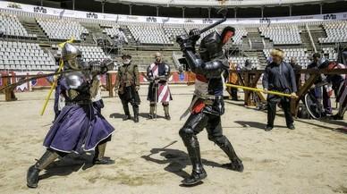 Entrenamientos del campeonato internacional de lucha medieval.