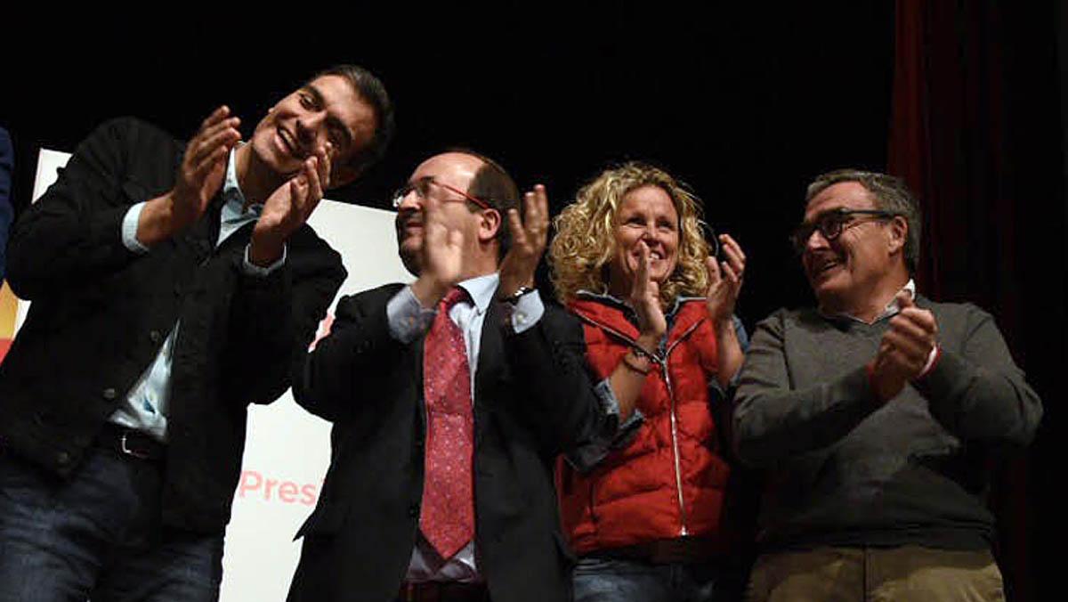 Mitin del PSC en Lleida con Iceta y Sánchez.