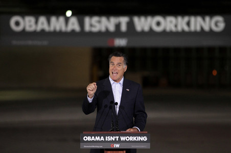 Mitt Romney, el pasado 19 de abril, en un acto en Ohio, en el que utiliz� como eslogan 'Obama is not working' (Obama no funciona).