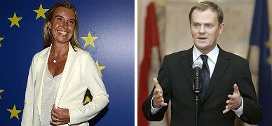 La ministra de Exteriores italiana, Federica Mogherini, y el primer ministro polaco, Donald T�sk.