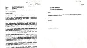Los dos correos de Urdangarin aceptados como prueba.A la iquierda, el dirigido a Juan Carlos I, y a la derecha, el enviado a la princesa Corinna.