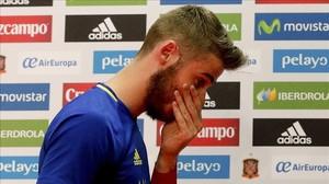 El portero de la selección española David de Gea, tras la rueda de prensa que ha dado a raíz de su supuesta implicación en el caso Torbe.
