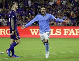 David Villa celebra un gol a Orlando City en la liga estadounidense.