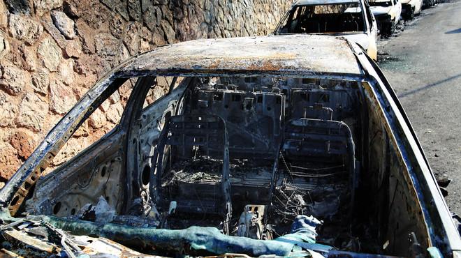 Coches quemados en el parque G�ell de Barcelona, el pasado 26 de enero.
