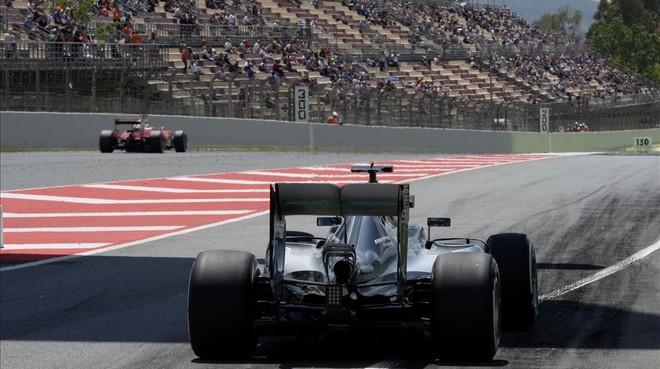 El Gran Premio de F-1 del 2016, durante los entrenamientos de Lewis Hamilton en Montmeló.
