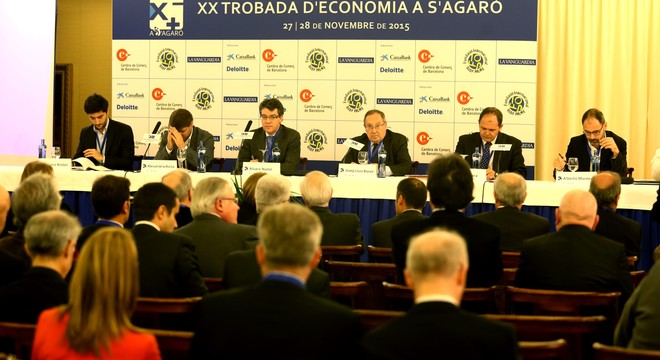 El presidente de la C�mara de Comercio de Espa�a, Josep Llu�s Bonet, junto a candidatos de PP, PSOE, Ciudadanos y Podemos a las elecciones generales debaten en la Trobada d'Economia de S'Agar�.