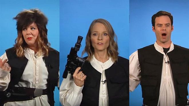 Melissa McCarthy,Jodie Foster y Bill Hader son algunas de las estrellas que participan en la parodia del casting para elegir al actor que encarnar� a Han Solo de joven en la nueva entrega de la saga de 'Star Wars'.