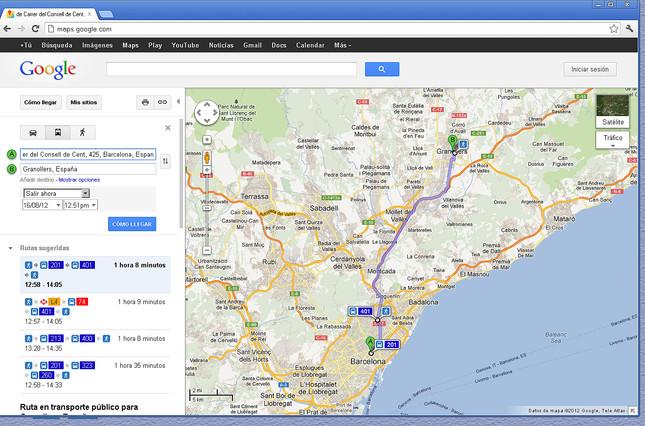 Recorrido en autobús por Barcelona, tal como lo muestra Google Maps.
