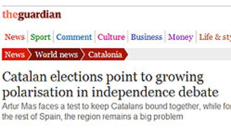 Captura de l'article de la web de 'The Guardian' que analitza els resultats del 25-N.