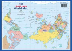 Australia, en el centro del mundo, en un mapa upside down.