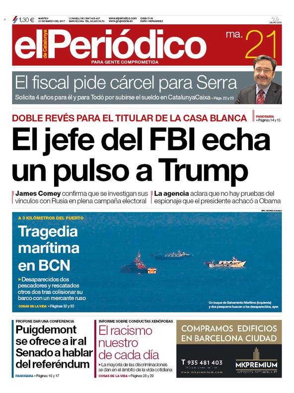 La portada de EL PERIÓDICO del 21 de marzo del 2017.