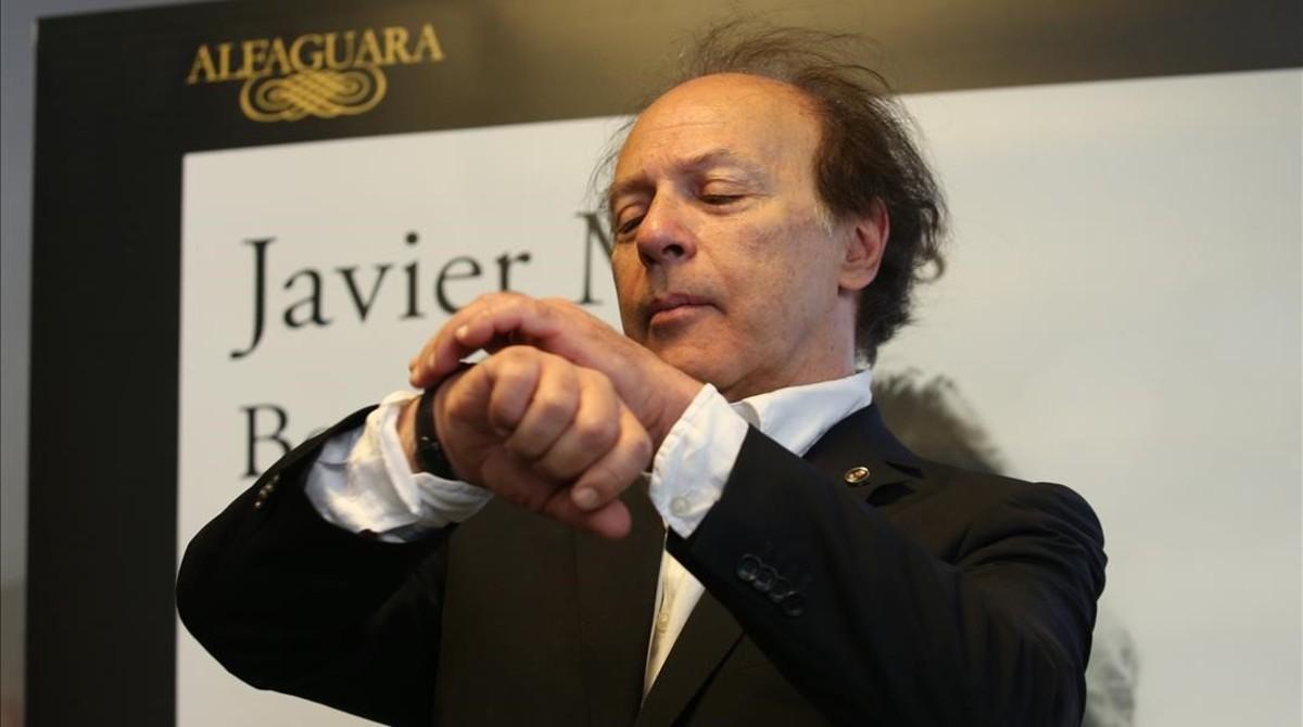 Javier Marías, en Madrid, donde ha presentado su nueva novela, Berta Isla