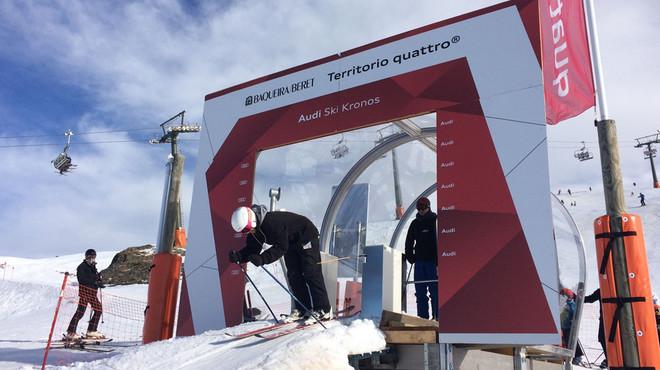 Un esquiador se dispone a comenzar el descenso cronometrado en Vaqu�ira-Beret