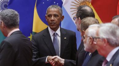 Rajoy i Obama se saluden a l'inici de la cimera del G-20