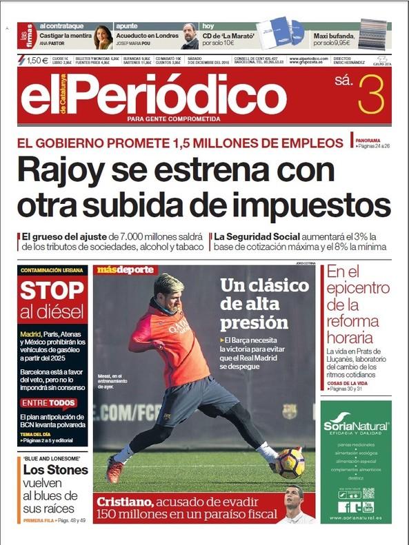 Prensa hoy del defraudador cristiano ronaldo y la naci n for Cuales son las partes de un periodico mural