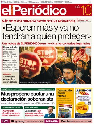 """""""Esperen m�s y ya no tendr�n a quien proteger"""", en la portada de EL PERI�DICO DE CATALUNYA"""