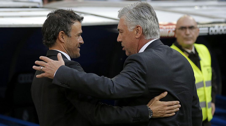 Luis Enrique y Carlo Ancelotti analizan el cl�sico del Bernab�u