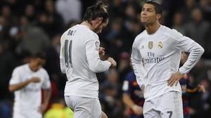 Cristiano y Bale, durante el último clásico del Bernabéu