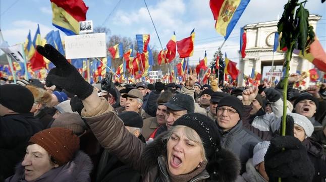 Manifestación contra el gobierno en Chisinau, Moldavia.