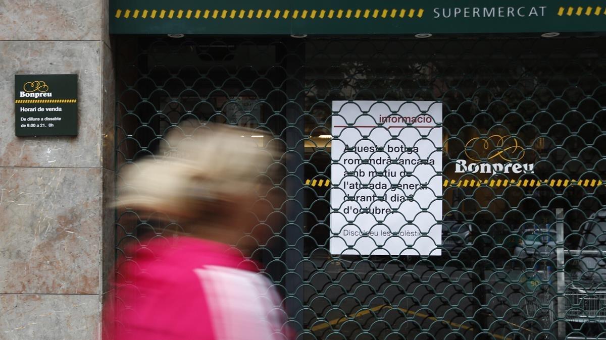 La cadena de supermercados Bonpreu i Esclat ha secundado la huelga.
