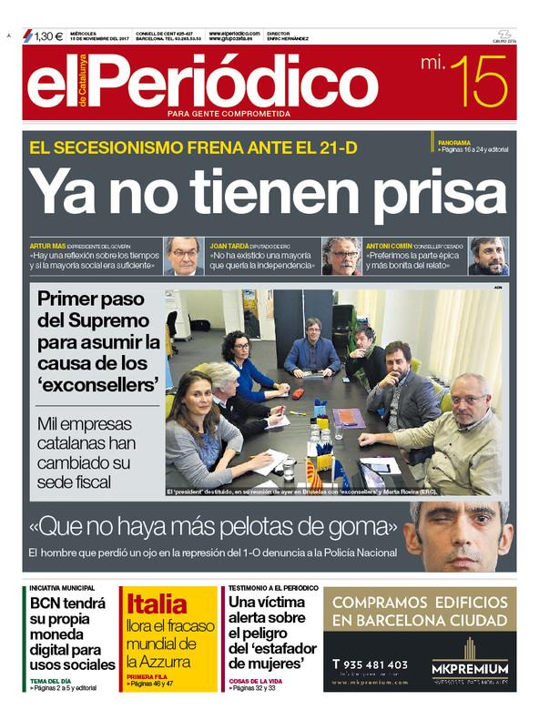 La portada de EL PERIÓDICO del 15 de noviembre del 2017.