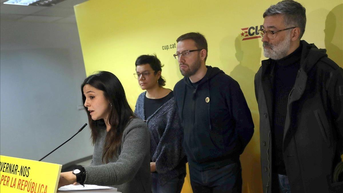 Maria Sirvent durante la rueda de prensa de la CUP del 10 de enero.
