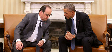 Hollande y Obama, en el despacho oval, ayer.