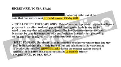 Text íntegre de l'alerta d'atemptat de la CIA als Mossos