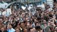 Concentració de protesta a la Puerta del Sol de Madrid, ahir.