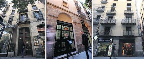 Antiguos domicilios de Gaudí en Consell de Cent, 370; en Verdaguer i Callis, 17; y en la placeta de Montcada, 12, la semana pasada.