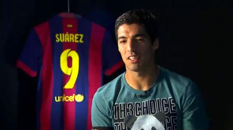 Luis Su�rez, durante la entrevista concedida al programa 'Hat-trick Bar�a'