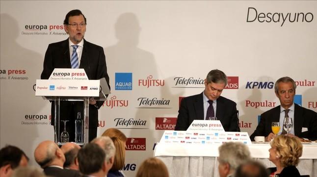 El Presidente del Gobierno, Mariano Rajoy, durante el desayuno informativo de este lunes en un c�ntrico hotel de Madrid.