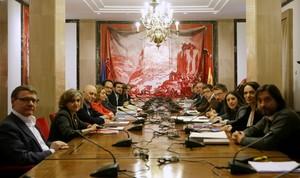 PSOE, Podemos, Compromís e Izquierda Unidea se reúnen en la sala Sert del Congreso