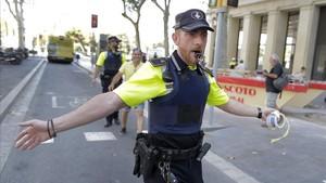 Cordón policial en Barcelona.
