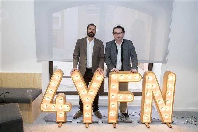El director ejecutivo de 4YFN, Esteban Redolfi, y el de la Mobile World Capital Barcelona, Aleix Valls.