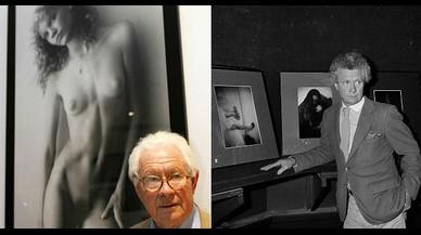 David Hamilton, en una exposición de homenaje en el 2003y, al lado, en una subasta de su obra en 1983.