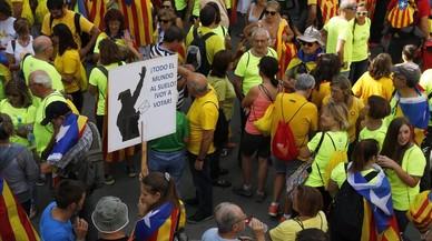 Manifestación de la Diada en el Passeig de Gràcia.