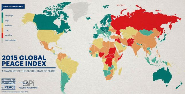 Este mapa muestra los países más peligrosos del mundo