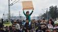 Manifestaci�n de refugiados en Idomeni