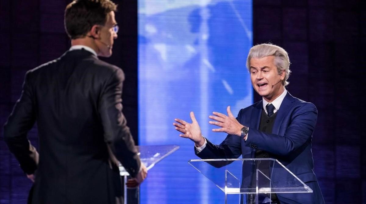 Rutte y Wilders chocan por la inmigración y la Unión Europea en el último debate electoral
