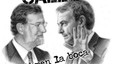 Rajoy y Zapatero en una pancarta con el eslogan &#34;Toma la calle&#34;.