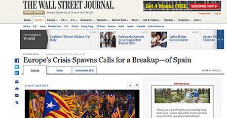 Captura de la web de 'The Wall Street Journal', con el art�culo alusivo a Espa�a.