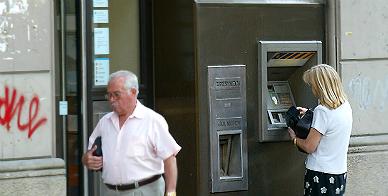 Cajero autom�tico de una entidad bancaria en Barcelona.
