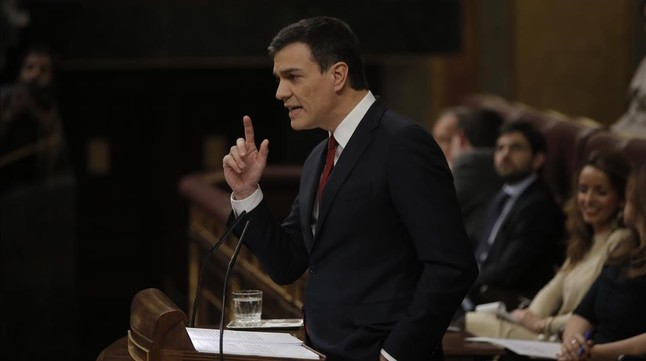 Pedro Sánchez, durante el debate de investidura en el Congreso, el pasado mes de marzo.