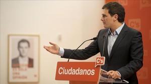 Albert Rivera, este lunes en la sede de Ciudadanos en Madrid.