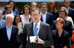 Mariano Rajoy esta manaña en el acto de presentación de los candidatos numero 1 por el PP al Congreso de los Diputados