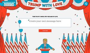Aspecto de la página web Trump with love, para mandar mensajes de amor con la voz y la imagen del presidente de EEUU.